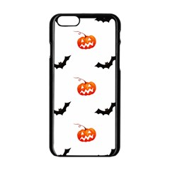 Halloween Seamless Pumpkin Bat Orange Black Sinister Apple Iphone 6/6s Black Enamel Case by Alisyart
