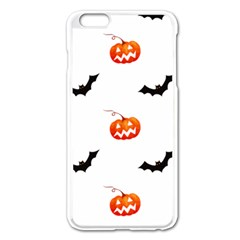 Halloween Seamless Pumpkin Bat Orange Black Sinister Apple Iphone 6 Plus/6s Plus Enamel White Case by Alisyart