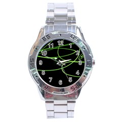 Light Line Green Black Stainless Steel Analogue Watch