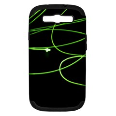 Light Line Green Black Samsung Galaxy S Iii Hardshell Case (pc+silicone) by Alisyart