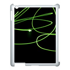 Light Line Green Black Apple Ipad 3/4 Case (white)