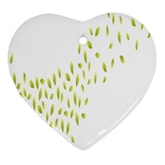 Leaves Leaf Green Fly Landing Heart Ornament (two Sides)