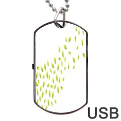 Leaves Leaf Green Fly Landing Dog Tag Usb Flash (two Sides)