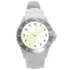 Leaves Leaf Green Fly Landing Round Plastic Sport Watch (l) by Alisyart