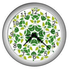 Leaf Green Frame Star Wall Clocks (silver)