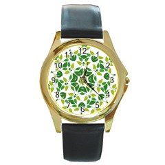 Leaf Green Frame Star Round Gold Metal Watch by Alisyart