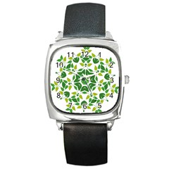 Leaf Green Frame Star Square Metal Watch by Alisyart