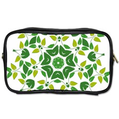 Leaf Green Frame Star Toiletries Bags 2 Side