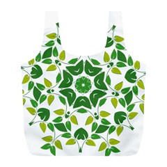 Leaf Green Frame Star Full Print Recycle Bags (l)  by Alisyart