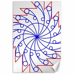 Line  Red Blue Circle Canvas 24  X 36