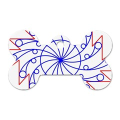 Line  Red Blue Circle Dog Tag Bone (two Sides)
