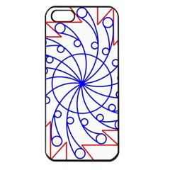 Line  Red Blue Circle Apple Iphone 5 Seamless Case (black)
