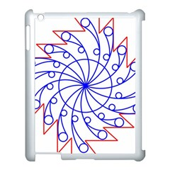 Line  Red Blue Circle Apple Ipad 3/4 Case (white)