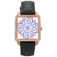 Line  Red Blue Circle Rose Gold Leather Watch  by Alisyart