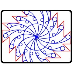 Line  Red Blue Circle Double Sided Fleece Blanket (large)