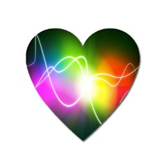 Lines Wavy Ight Color Rainbow Colorful Heart Magnet