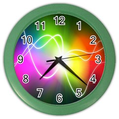 Lines Wavy Ight Color Rainbow Colorful Color Wall Clocks