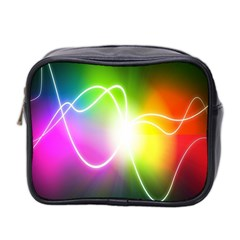 Lines Wavy Ight Color Rainbow Colorful Mini Toiletries Bag 2 Side