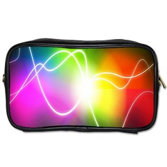Lines Wavy Ight Color Rainbow Colorful Toiletries Bags 2 Side