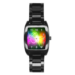 Lines Wavy Ight Color Rainbow Colorful Stainless Steel Barrel Watch