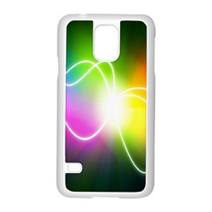Lines Wavy Ight Color Rainbow Colorful Samsung Galaxy S5 Case (white)