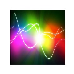 Lines Wavy Ight Color Rainbow Colorful Small Satin Scarf (square)