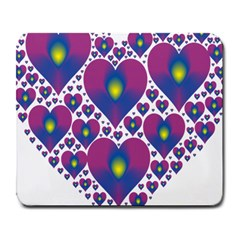 Heart Love Valentine Purple Gold Large Mousepads by Alisyart