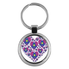 Heart Love Valentine Purple Gold Key Chains (round)