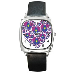 Heart Love Valentine Purple Gold Square Metal Watch by Alisyart