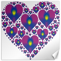 Heart Love Valentine Purple Gold Canvas 12  X 12