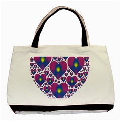 Heart Love Valentine Purple Gold Basic Tote Bag (two Sides)