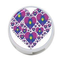 Heart Love Valentine Purple Gold 4 Port Usb Hub (two Sides)