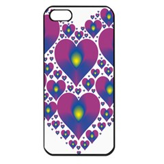 Heart Love Valentine Purple Gold Apple Iphone 5 Seamless Case (black)