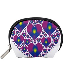 Heart Love Valentine Purple Gold Accessory Pouches (small)
