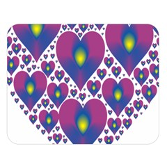 Heart Love Valentine Purple Gold Double Sided Flano Blanket (large)  by Alisyart