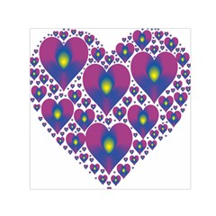 Heart Love Valentine Purple Gold Small Satin Scarf (square)