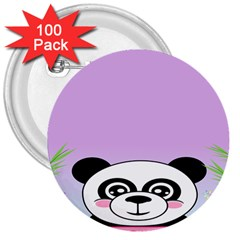 Panda Happy Birthday Pink Face Smile Animals Flower Purple Green 3  Buttons (100 Pack)