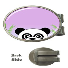 Panda Happy Birthday Pink Face Smile Animals Flower Purple Green Money Clips (oval)  by Alisyart