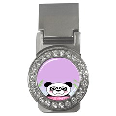 Panda Happy Birthday Pink Face Smile Animals Flower Purple Green Money Clips (cz)  by Alisyart