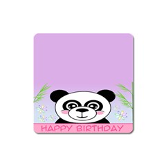 Panda Happy Birthday Pink Face Smile Animals Flower Purple Green Square Magnet