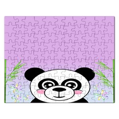 Panda Happy Birthday Pink Face Smile Animals Flower Purple Green Rectangular Jigsaw Puzzl by Alisyart