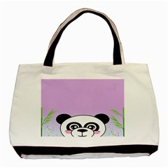Panda Happy Birthday Pink Face Smile Animals Flower Purple Green Basic Tote Bag