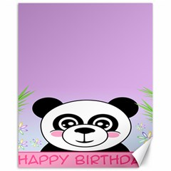 Panda Happy Birthday Pink Face Smile Animals Flower Purple Green Canvas 16  X 20   by Alisyart