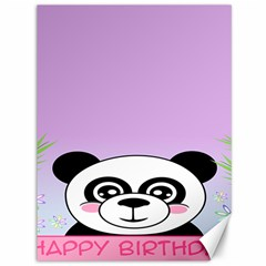 Panda Happy Birthday Pink Face Smile Animals Flower Purple Green Canvas 36  X 48   by Alisyart