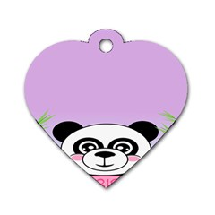 Panda Happy Birthday Pink Face Smile Animals Flower Purple Green Dog Tag Heart (one Side) by Alisyart