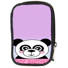Panda Happy Birthday Pink Face Smile Animals Flower Purple Green Compact Camera Cases