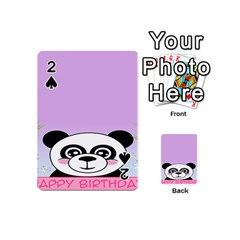 Panda Happy Birthday Pink Face Smile Animals Flower Purple Green Playing Cards 54 (mini)  by Alisyart