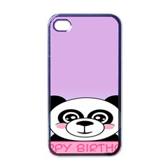 Panda Happy Birthday Pink Face Smile Animals Flower Purple Green Apple Iphone 4 Case (black)