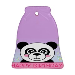 Panda Happy Birthday Pink Face Smile Animals Flower Purple Green Ornament (bell)