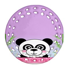 Panda Happy Birthday Pink Face Smile Animals Flower Purple Green Round Filigree Ornament (two Sides)